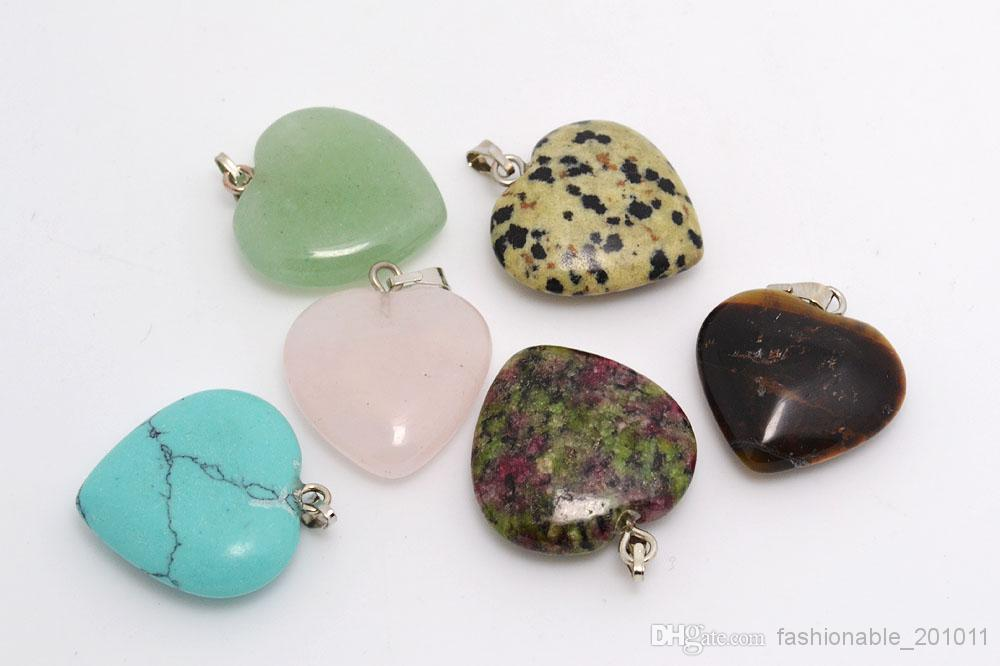 stone jewelry jewelry heart natural stone gemstone pendants high polished loose beads  silver plated hook fit pwfyttc