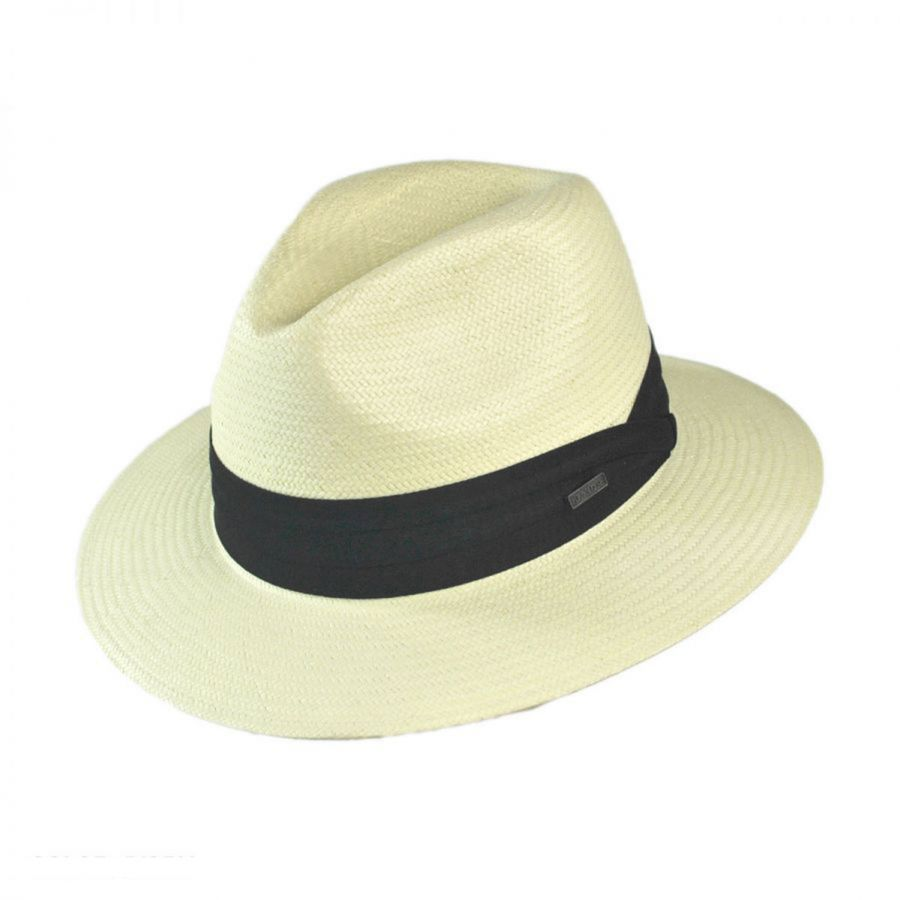 straw hats jaxon hats toyo straw safari fedora hat - black band esjdwvi