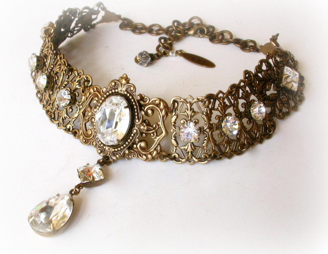 swarovski crystal choker - victorian gothic brass choker - victorian jewelry  -wedding jewelry nhkrlvo