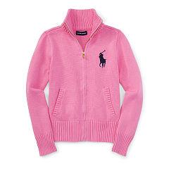 sweaters for girls cotton zip-up mockneck sweater - sweaters girlsu0027 7-16 - ralphlauren.com dfwgcaz