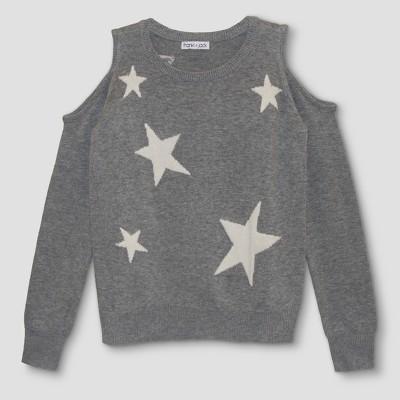 sweaters for girls girlsu0027 franki u0026 jack cold shoulder star sweater - heather gray jstfgap