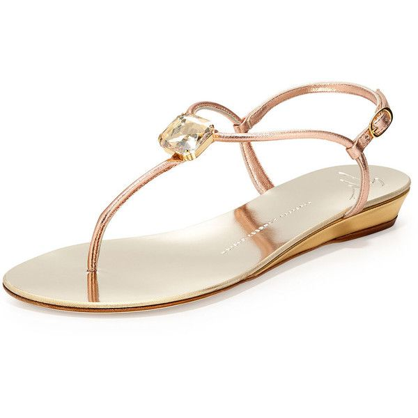 t strap flats giuseppe zanotti crystal demi-wedge t-strap sandal ($690) ❤ liked on tenqsvl