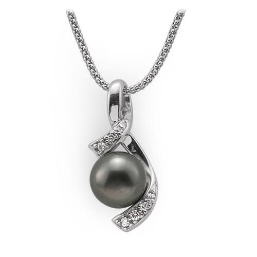 tahitian black pearl necklace with diamonds in 14k white gold (10-11mm) HMXUCQC