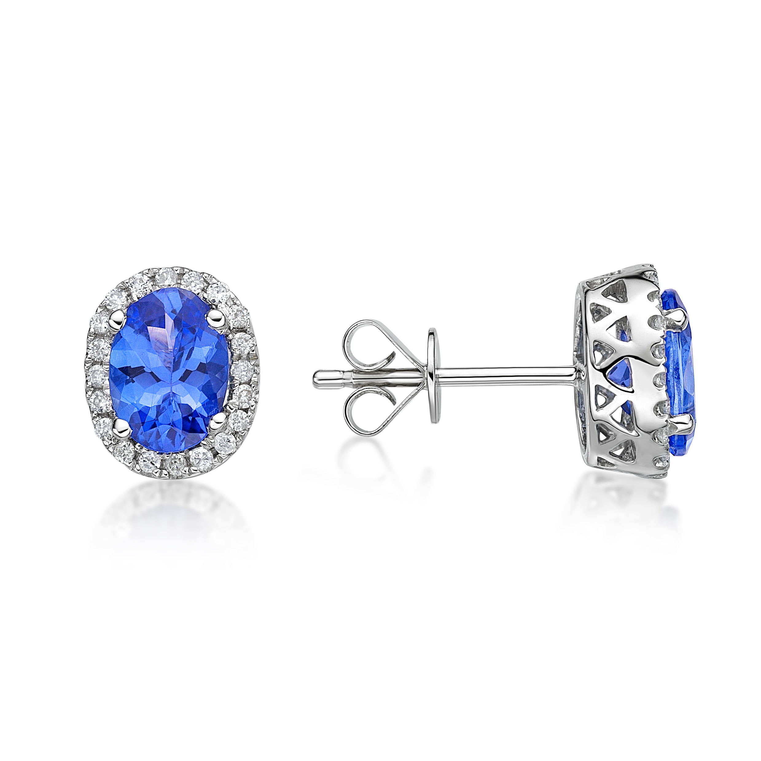 tanzanite earrings 1.45 ct tanzanite u0026 diamond halo stud earrings lzdgnyo