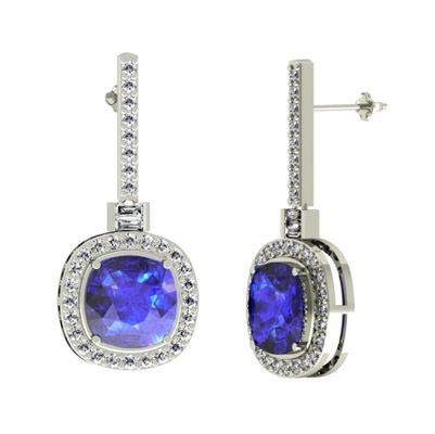 tanzanite earrings 4.2ctw cushion tanzanite earring with 1.35ctw diamonds in 14k white gold -  toptanzanite. koitoen