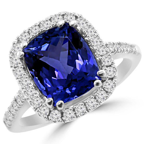 tanzanite rings cushion cut tanzanite diamond halo engagement ring zoplzwt
