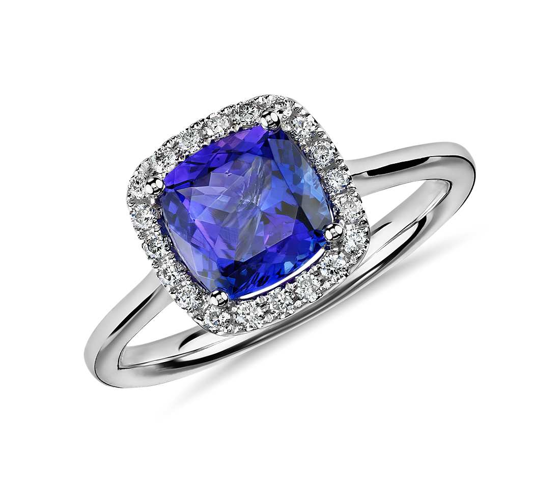 diamond engagement wedding loop tanzanite ring white blue curved gold rings round