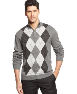 tasso elba quarter-zip argyle sweater iwxqphx