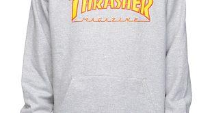 thrasher flame logo grey hoodie tljgfhv