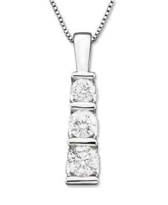 three-stone diamond pendant necklace in 14k white gold (1/2 ct. bakhpoo