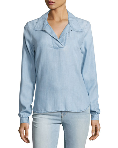 tie-back collared denim blouse, rowan kpzigzm