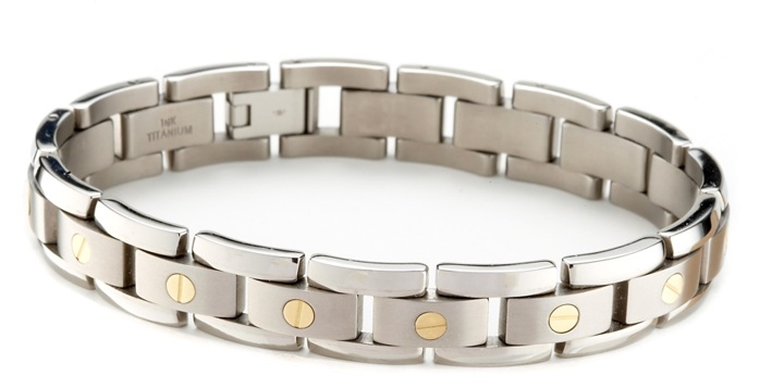 titanium bracelets email to a friend menu0027s titanium bracelet with 14k gold elements - click to uzvfzib