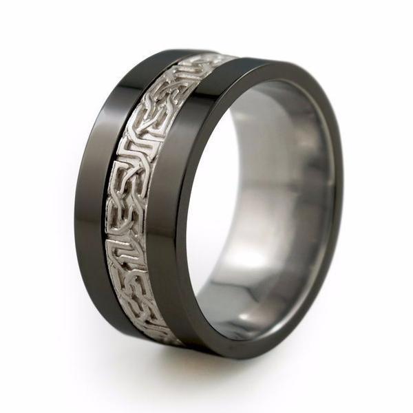 Titanium Wedding Rings Camelot   Sculpted Precious Inlay Menu0027s Black Titanium  Ring   Titanium Rings Cuhlfsj