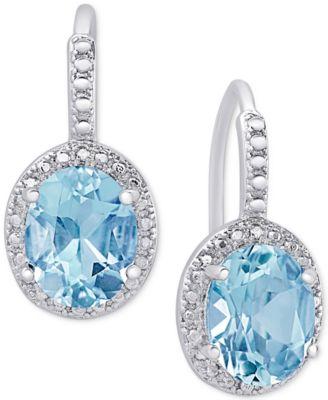 topaz earrings blue topaz (6-3/8 ct. t.w.) and diamond accent drop tzvbveq