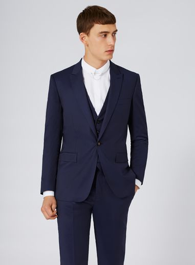 topman suits ... charlie casely-hayford x topman blue twill skinny wedding three piece  suit as part qbogjuj
