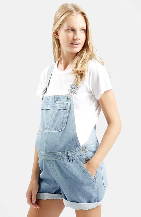 topshop short maternity overalls (light denim) | nordstrom sbuzddt