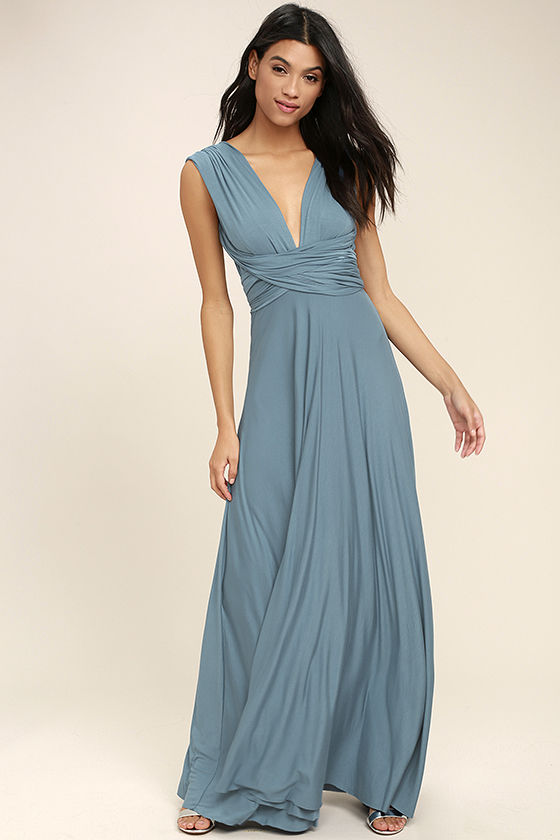 tricks of the trade slate blue maxi dress 1 bywmqpw