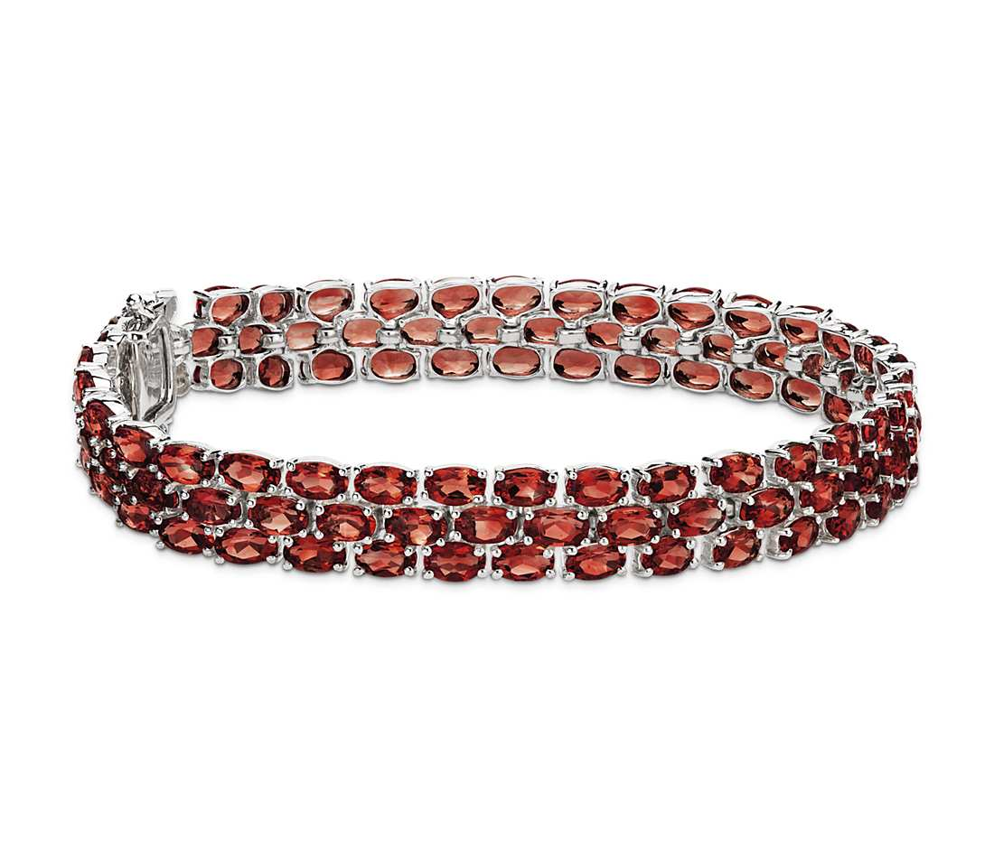 trio oval garnet bracelet in sterling silver (5x3mm) tnvugzx