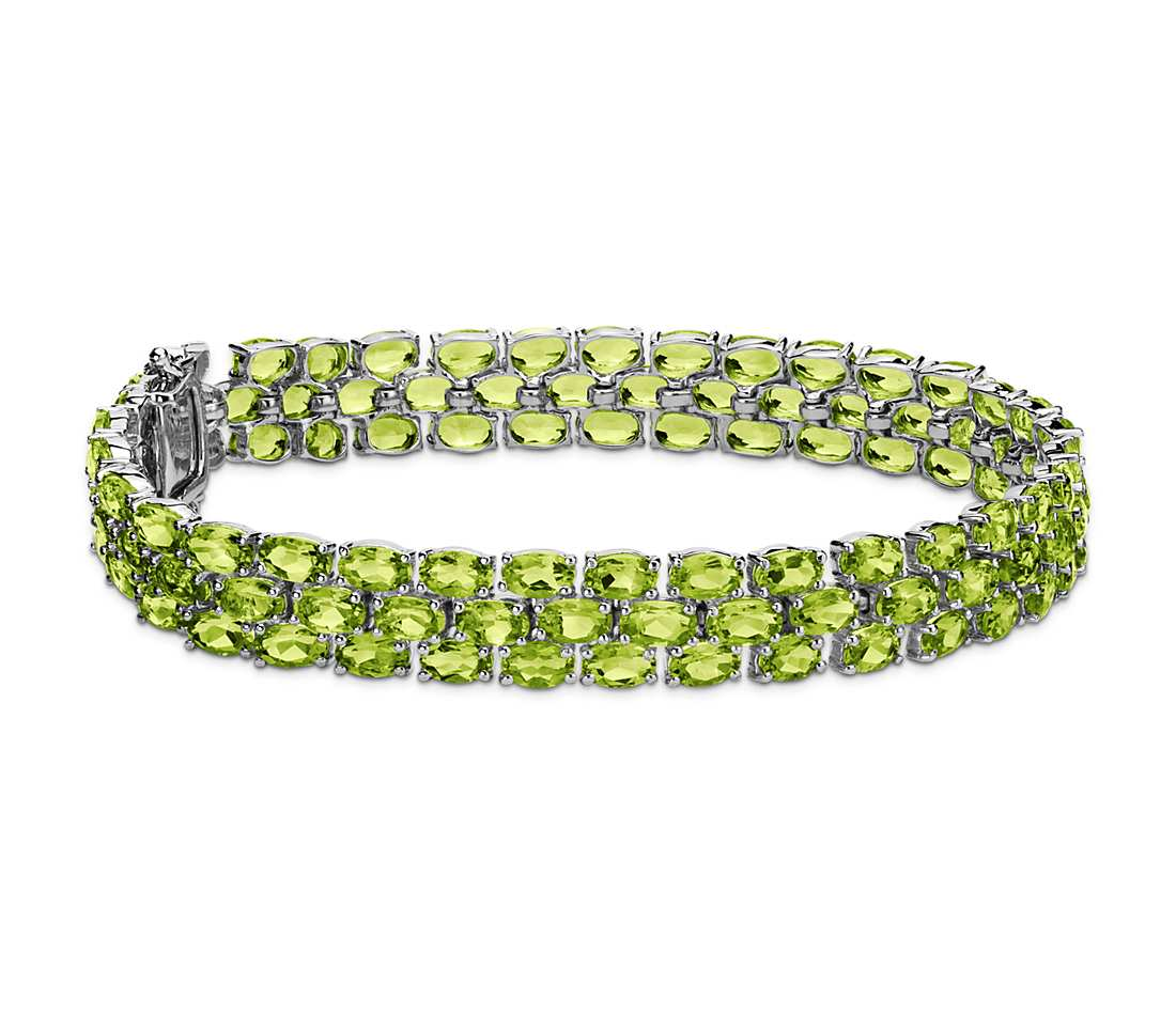 trio oval peridot bracelet in sterling silver (5x3mm) klaqpfm