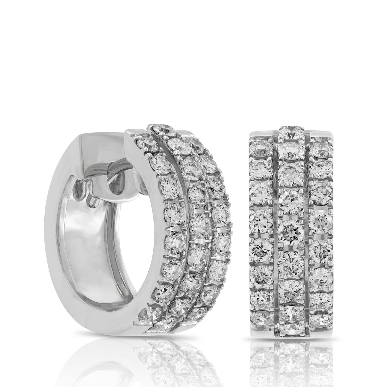 triple row diamond hoop earrings 14k ... gwellzm