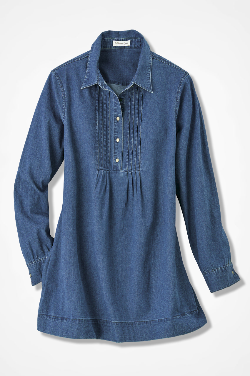 tucked denim tunic, indigo, large siazbfg