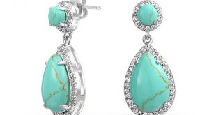 turquoise jewelry bling jewelry teardrop blue turquoise drop earrings cubic zirconia round ghthcdv