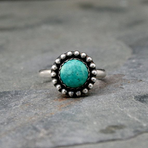 turquoise rings desert sky turquoise ring round turquoise cabochon set in sterling silver,  surrounded by a lkkcjnb
