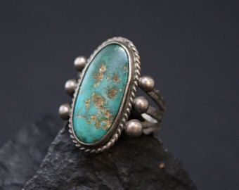 turquoise rings sterling silver old pawn oval turquoise ring, native american turquoise ring,  sterling navajo turquoise owyadom