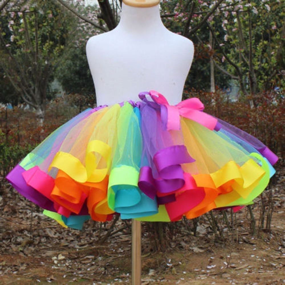tutu skirts kids girls rainbow tutu skirt tulle fluffy princess dance dress party us  stock | iiqvwyl