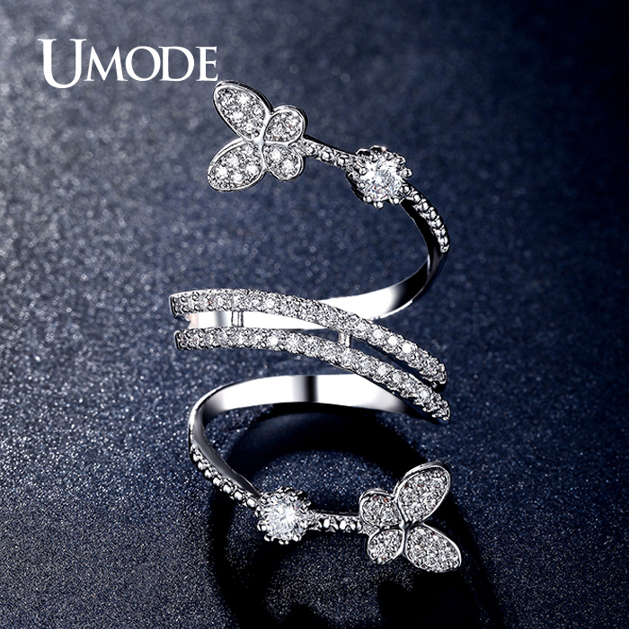 umode double butterflies shaped 0.25ct simulated diamond unique rings white  gold plated jewelry for hlqwvyb