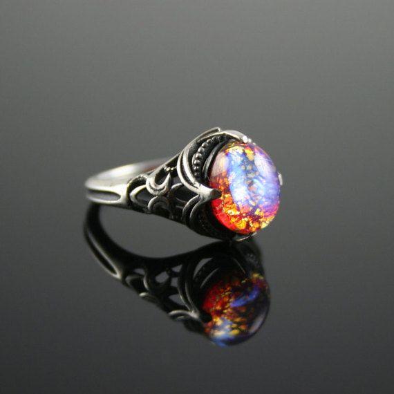 unique rings dragonu0027s breath opal antique estate style cabochon ring vintage glass drzsnsg