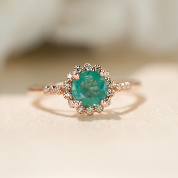 unique rings natural emerald ring, rose gold ring, halo engagement ring, promise ring,  unique lkcoiek
