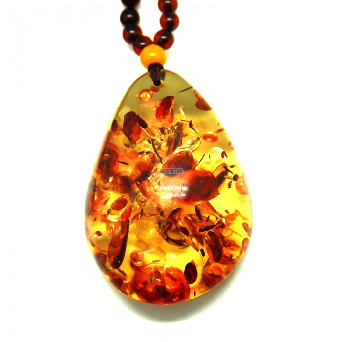 unshaped rosin piebald amber necklace NUSFYXC