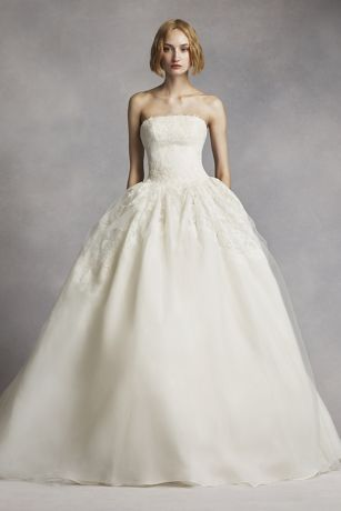 vera wang bridal long ballgown modern chic wedding dress - white by vera wang yywboja