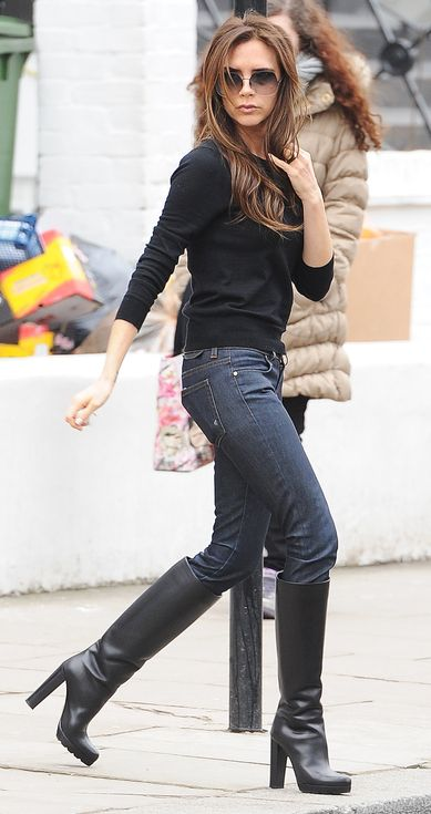 victoria beckham jeans rip, victoria beckhamu0027s heels: the craziest shoes she ever wore | people runnqbz