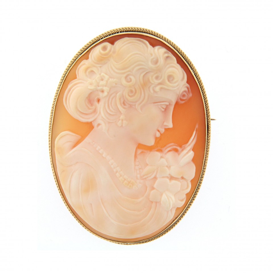 vintage 9ct gold shell cameo brooch kdxdycm