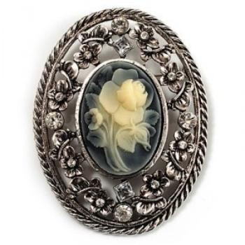vintage floral crystal cameo antique brooches (silver finish) LTNJHSB