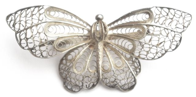 vintage silver filigree butterfly brooch fpoqwhi