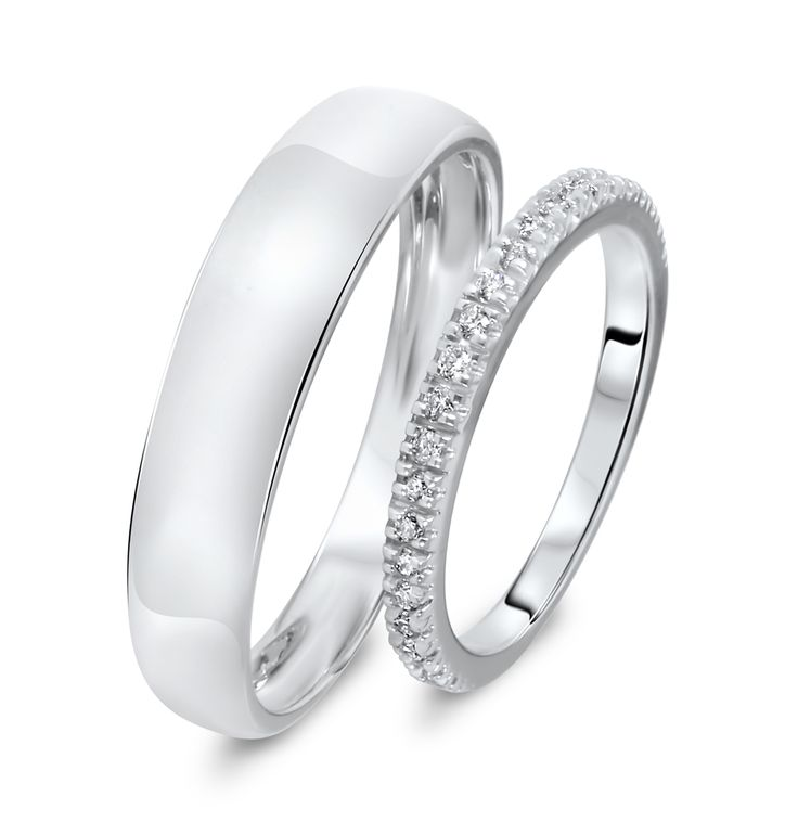 Wedding Band Sets 1 4 Carat T W Round Cut Diamond His And Hers