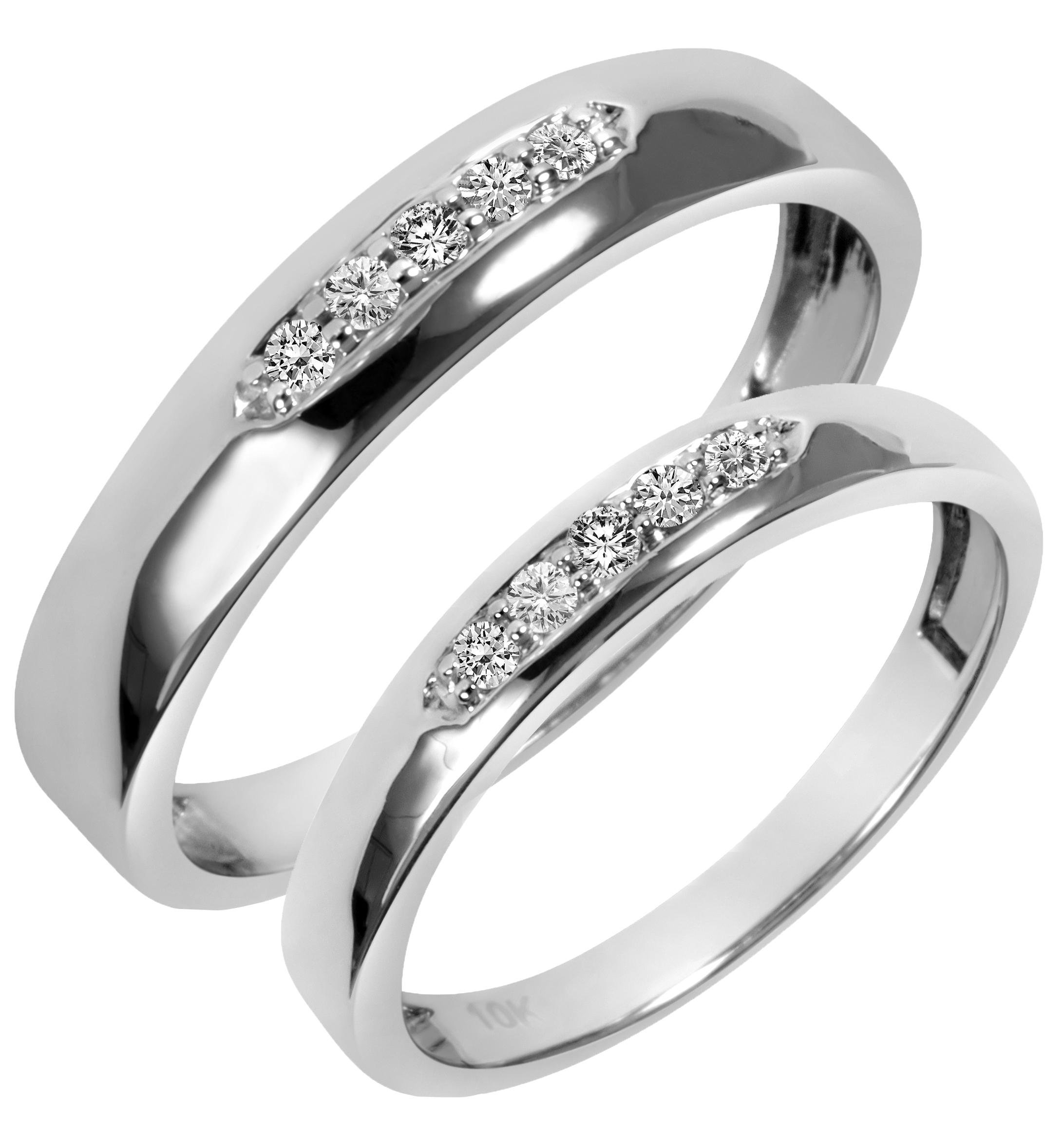 wedding band sets 1/5 carat t.w. diamond his and hers wedding band set 14k white gold | my aztvqdu