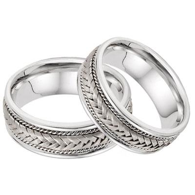 wedding band sets 14k white gold 7.6mm braided wedding band set mnfabqk