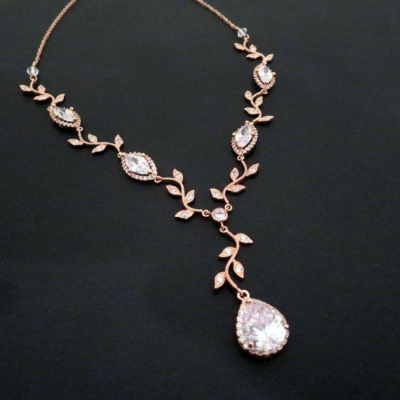 wedding necklace bridal necklace, rose gold necklace, rose gold bridal jewelry, crystal wedding  necklace, crystal necklace, ambrmvj