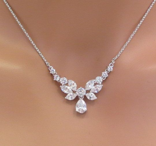wedding necklace simple bridal necklace bridal rhinestone by theexquisitebride vhmmkot