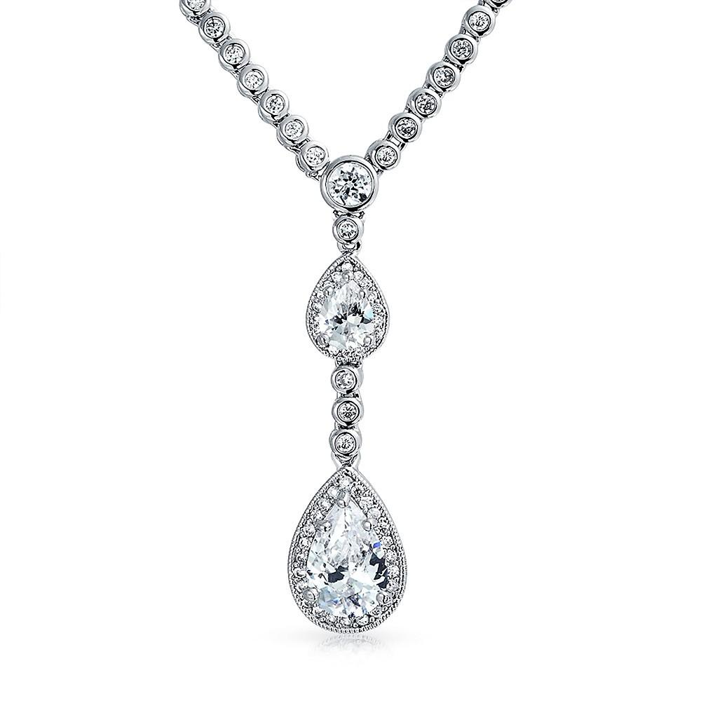 wedding necklace vintage double teardrop silver cz bridal necklace 16in lldfblc