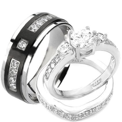wedding ring sets amazon.com: wedding rings set his and hers titanium u0026 stainless steel  engagement bridal rings uiyfgnq