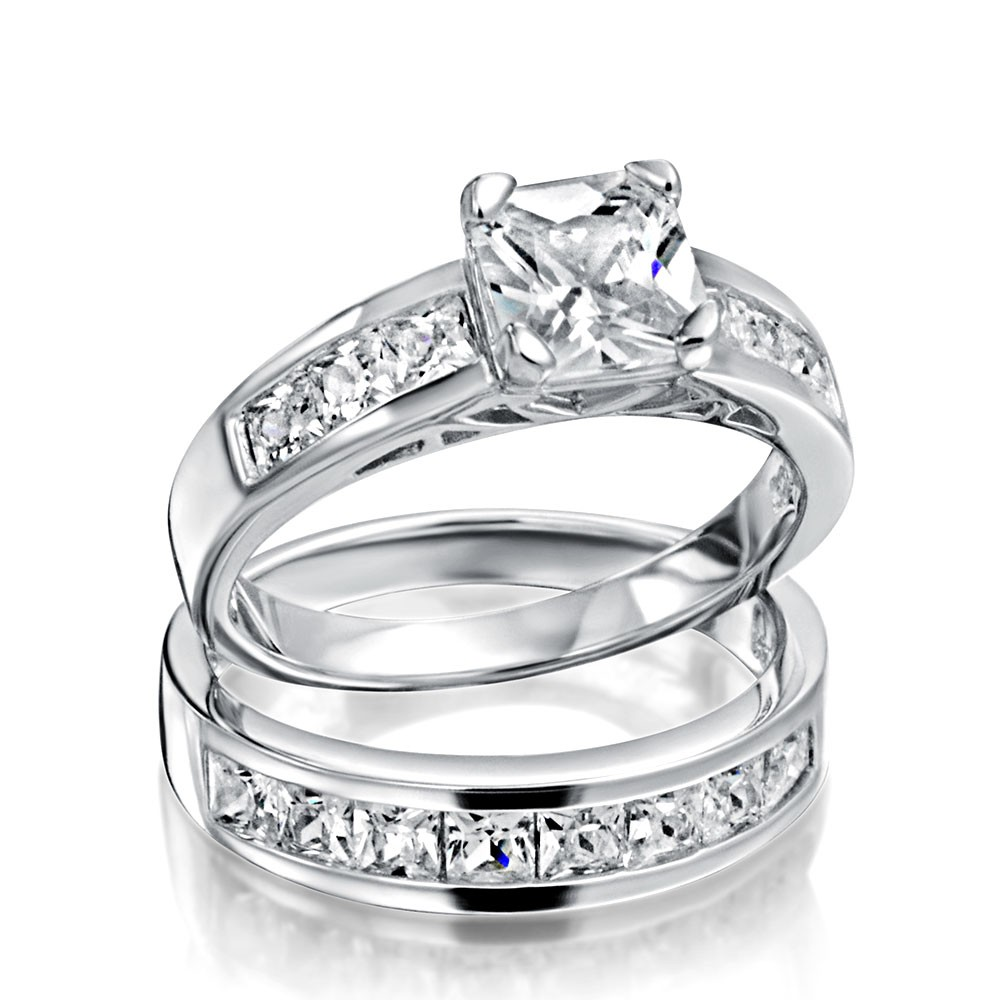 wedding ring sets sterling silver 2ct cz princess cut engagement wedding ring set gcrbzaq