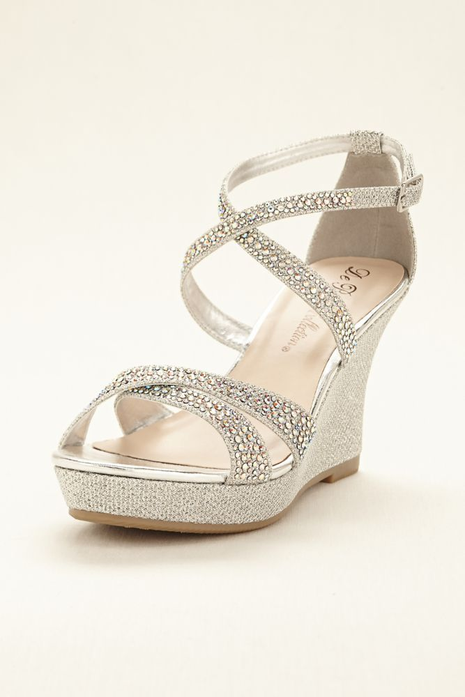 wedding shoes wedges crystal cross strap wedge wedding u0026 bridesmaid sandal - silver, 5.5 womenu0027s nsqvtgb