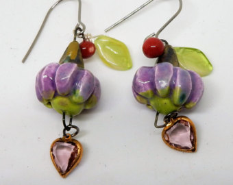 whimsical earrings, flower earrings, funky earrings, whimsy earrings, heart  earrings hsypxwe