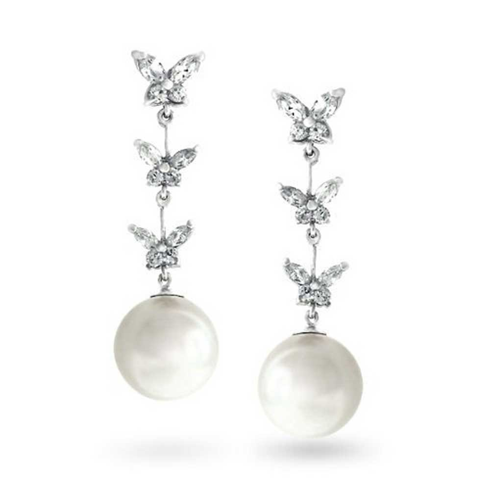 white earrings bling jewelry white faux pearl silver tone triple cz butterfly drop earrings krkjamw