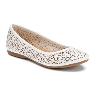 white flats croft u0026 barrow® womenu0027s ortholite cutout ballet flats ajdmxrx